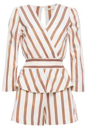 MAJE Wrap-effect shirred striped twill peplum playsuit