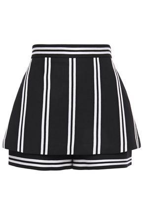 MAJE Layered striped twill shorts