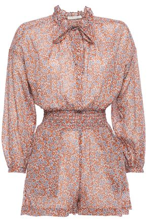 MAJE Pussy-bow printed cotton-voile playsuit