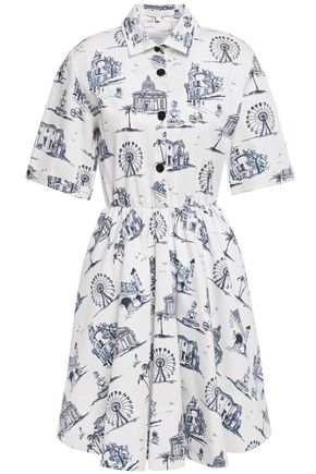 MAJE Rapomi printed cotton-blend poplin mini shirt dress