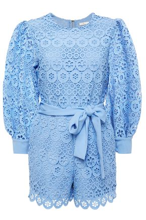 MAJE Belted guipure-lace playsuit