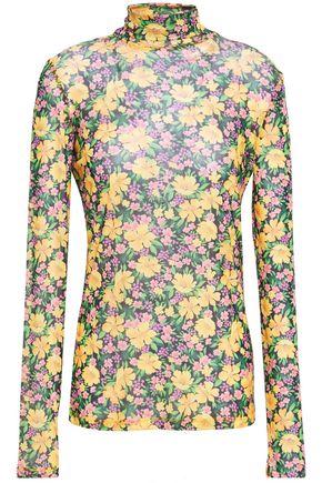 MAJE Thoma floral-print stretch-mesh top