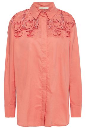 MAJE Capioni lace-paneled cotton-poplin shirt