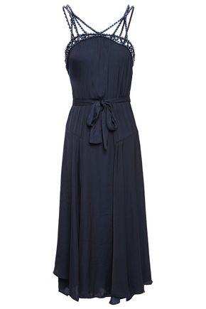MAJE Crystal-embellished satin midi dress