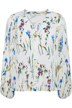 MAJE Larcy plissé floral-print crepe blouse