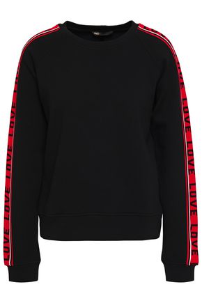 MAJE Intarsia-trimmed French cotton-blend terry sweatshirt