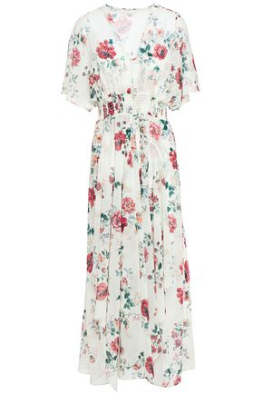 MAJE Shirred floral-print georgette maxi dress