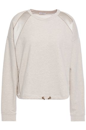 BRUNELLO CUCINELLI Bead-embellished French cotton-blend terry sweatshirt