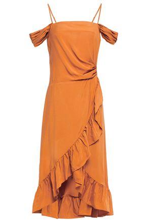 MAJE Wrap-effect ruffle-trimmed woven dress