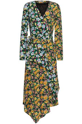 MAJE Roen wrap-effect floral-print woven midi dress