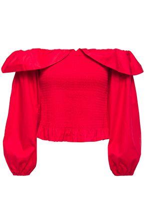 MAJE Off-the-shoulder shirred cotton-poplin top
