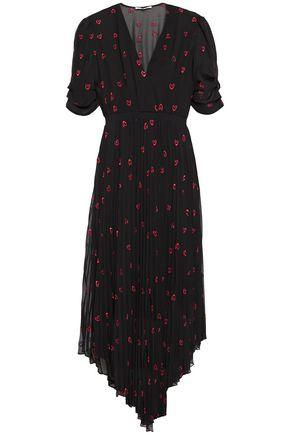 MAJE فستان متوسط الطول وغير متماثل من قماش جورجيت المطرز مع طيات