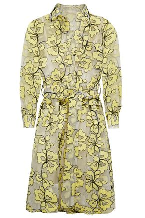 MAJE Belted embroidered organza mini shirt dress