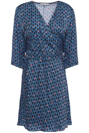MAJE Reanny printed crepe wrap mini dress