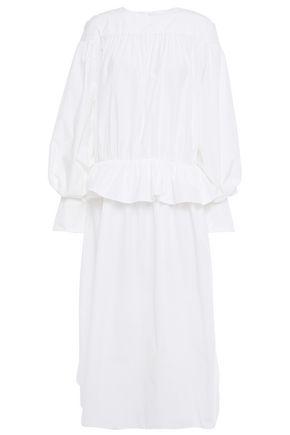 GOEN.J فستان متوسط الطول بتصميم ملموم وبقصة البيبلوم من البوبلين