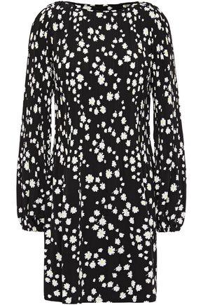 MAJE Floral-print plissé-woven mini dress