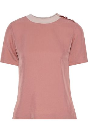 RAG & BONE ボタン付き しわ加工サテンツイル Tシャツ
