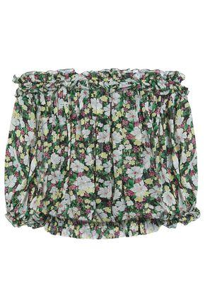MAJE Off-the-shoulder floral-print silk-blend georgette top