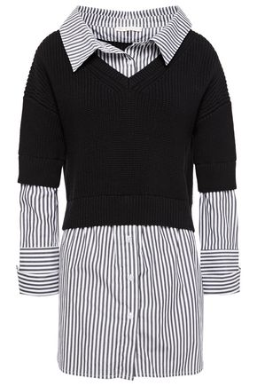 MAJE Merlin layered striped cotton-poplin and stretch-knit shirt