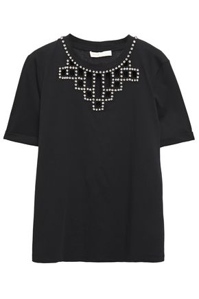 MAJE Crystal-embellished embroidered cotton-jersey T-shirt