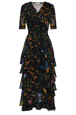 MAJE Tiered wrap-effect floral-print georgette midi dress