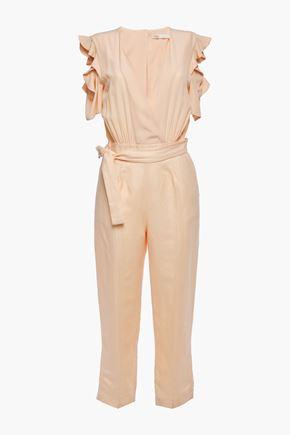 MAJE Belted cutout crepe de chine-paneled twill jumpsuit