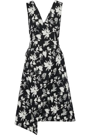 GOEN.J Wrap-effect floral-print bouclé dress