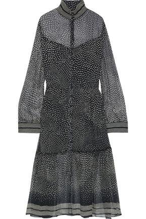 """RAG & BONE فستان متوسط الطول """"ليبي"""" من قماش جورجيت الحريري المطبع برسومات"""