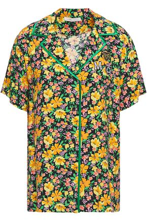 MAJE Cikael appliquéd floral-print woven shirt