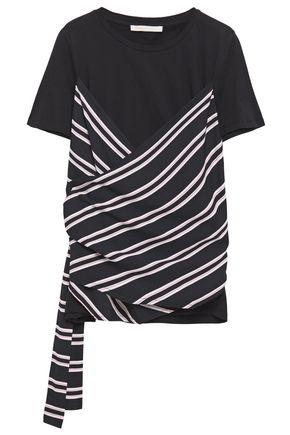 MAJE Striped twill-paneled cotton-jersey T-shirt