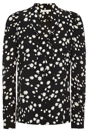 MAJE Tie-neck floral-print crepe blouse