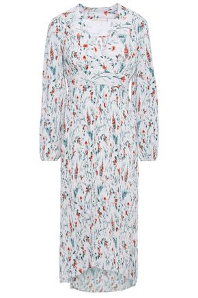 MAJE Floral-print plissé-georgette dress