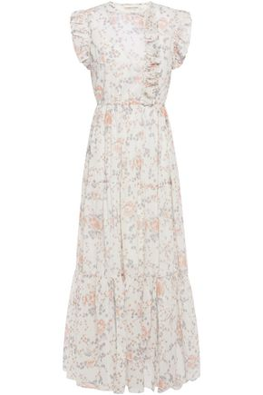 MAJE Rosee ruffled floral-print cotton-gauze maxi dress