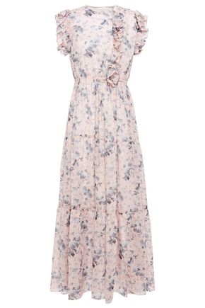 MAJE Ruffle-trimmed floral-print cotton-voile maxi dress