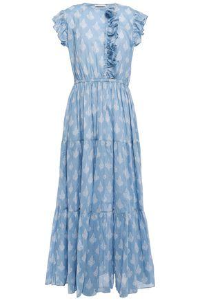 MAJE Ruffled printed cotton-gauze maxi dress