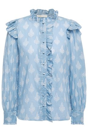 MAJE Pointelle-trimmed ruffled printed cotton-gauze shirt