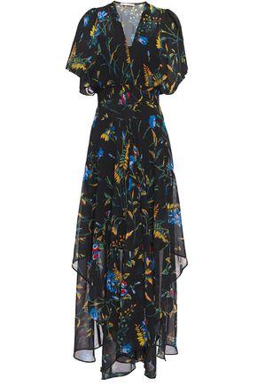 MAJE Asymmetric shirred floral-print chiffon dress