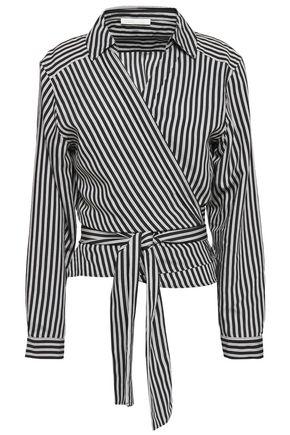 MAJE Larva striped twill wrap shirt