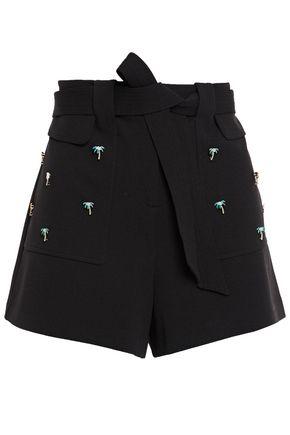 MAJE Jelsa belted embellished stretch-crepe shorts