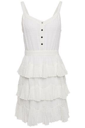 MAJE فستان قصير مكسو بطبقات مع نقاط حياكة بارزة