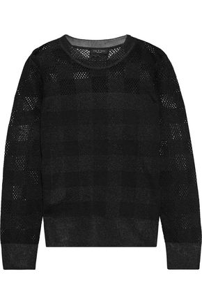 RAG & BONE Paneled checked open-knit sweater