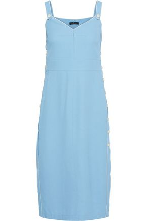 RAG & BONE Tia button-detailed  textured-twill midi slip dress