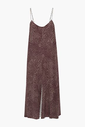 "RAG & BONE فستان متوسط الطول ""ديردر"" من الكريب المطبع برسومات مع طيات"