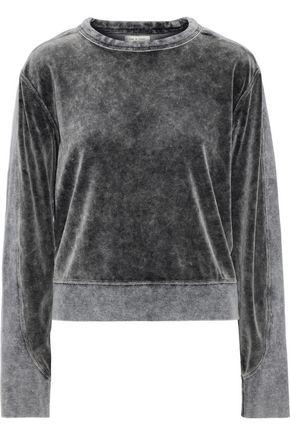 RAG & BONE Faded jersey-paneled cotton-blend velour sweatshirt