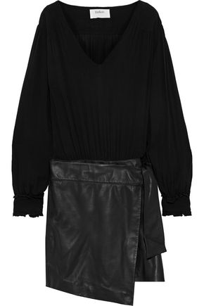 BA&SH Lesly wrap-effect gauze and leather mini dress