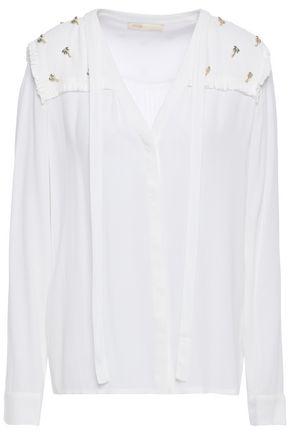 MAJE Cil embellished crepe blouse
