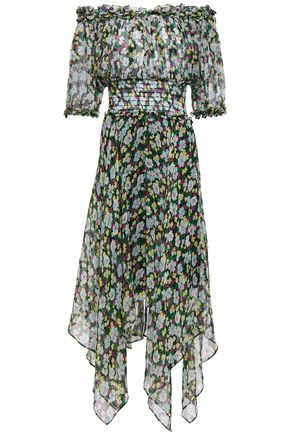 MAJE Off-the-shoulder metallic-trimmed floral-print silk-blend georgette midi dress