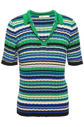 MAJE Metallic-trimmed striped ribbed-knit top