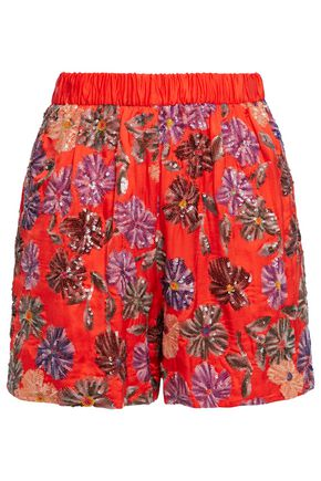 MAJE Sequined satin shorts