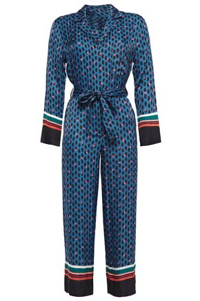 MAJE Cropped belted printed satin jumpsuit